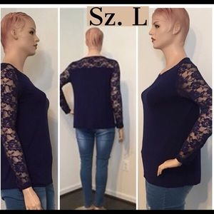 Tops - NWT Blue Yolk Lace Pullover Top